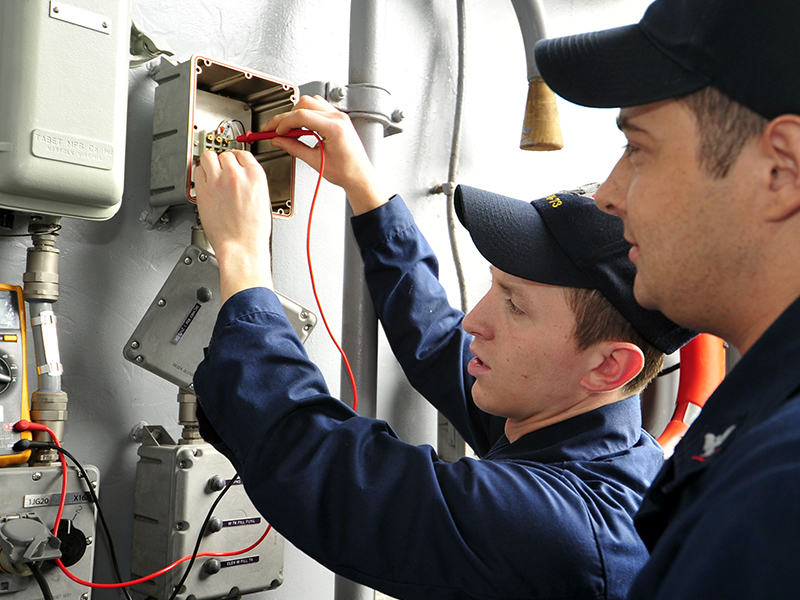 110602-N-VL413-011  YOKOSUKA, Japan (June 2, 2011) Interior Communications Electrician Fireman Michael Colonna, left, from Sterling Heights, Mich., and Interior Communications Electrician 3rd Class Anthony King, from Nacogdoches, Texas, checks for voltage on an aircraft carrier elevator bell buzzer circuit during a dock trial aboard the aircraft carrier USS George Washington (CVN 73). George Washington is the U.S. Navy's only full-time forward-deployed aircraft carrier, homeported in Yokosuka, Japan, and ensures security and stability across the western Pacific Ocean. (U.S. Navy photo by Mass Communication Specialist Seaman Cheng S. Yang/Released) Anderson, inspect the fuse box inside a FEMA-provided mobile home. He is examining the installation of the home to ensure it is in compliance with local ordinances. The Grice family will temporarily occupy the home while the begin rebuilding their lives following the devastating loss of their home during the October wildfires. Amanda Bicknell/FEMA
